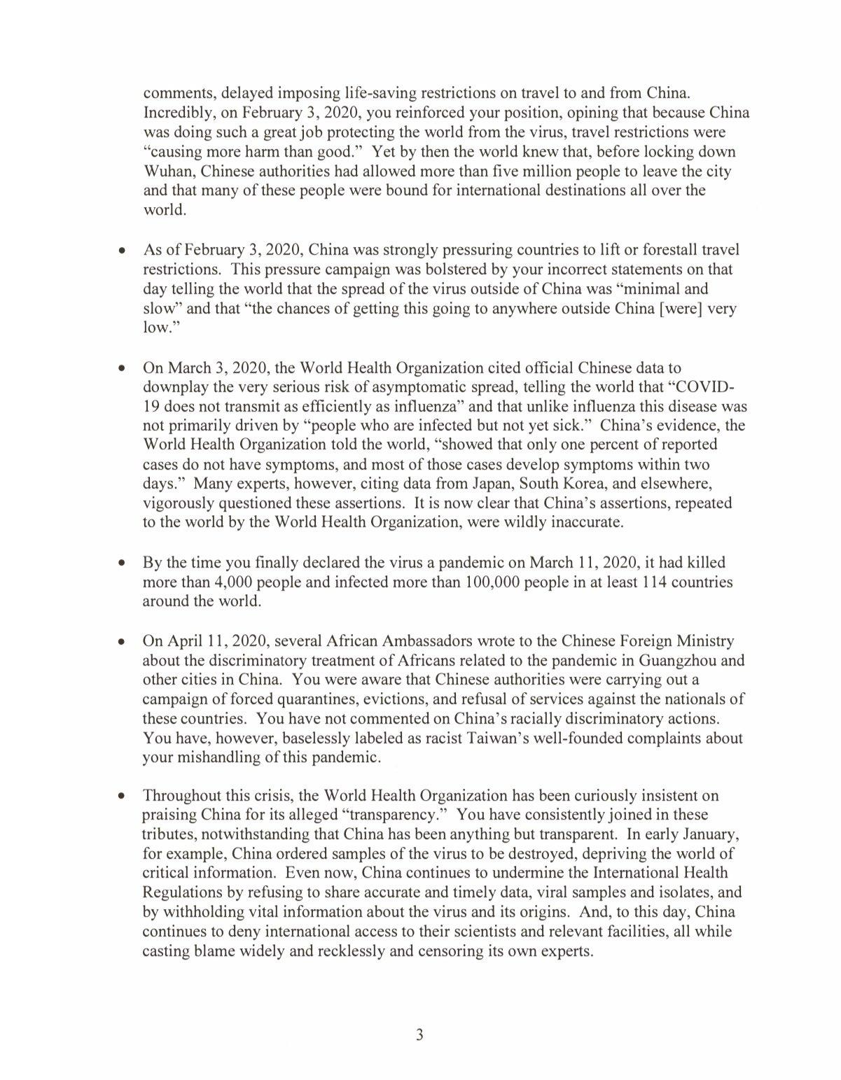 Письмо президента США Дональда Трампа главе ВОЗ Тедросу Гебрейесусу