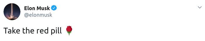 Скриншот твита Илона Маска о красной таблетке