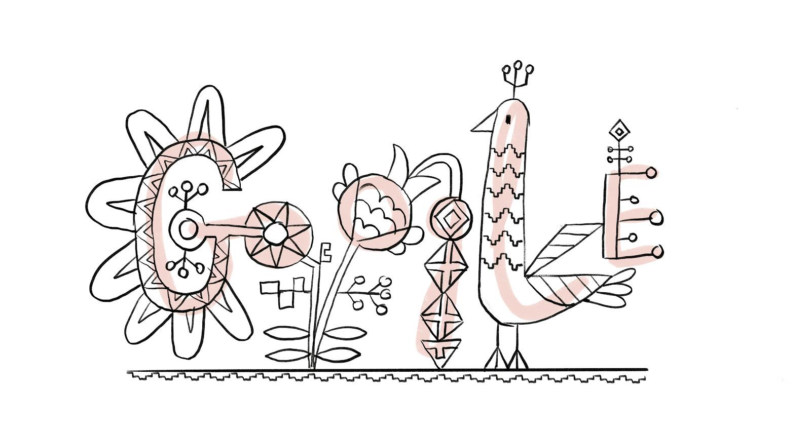 Эскиз дудла, посвященного Международному дню вышиванки