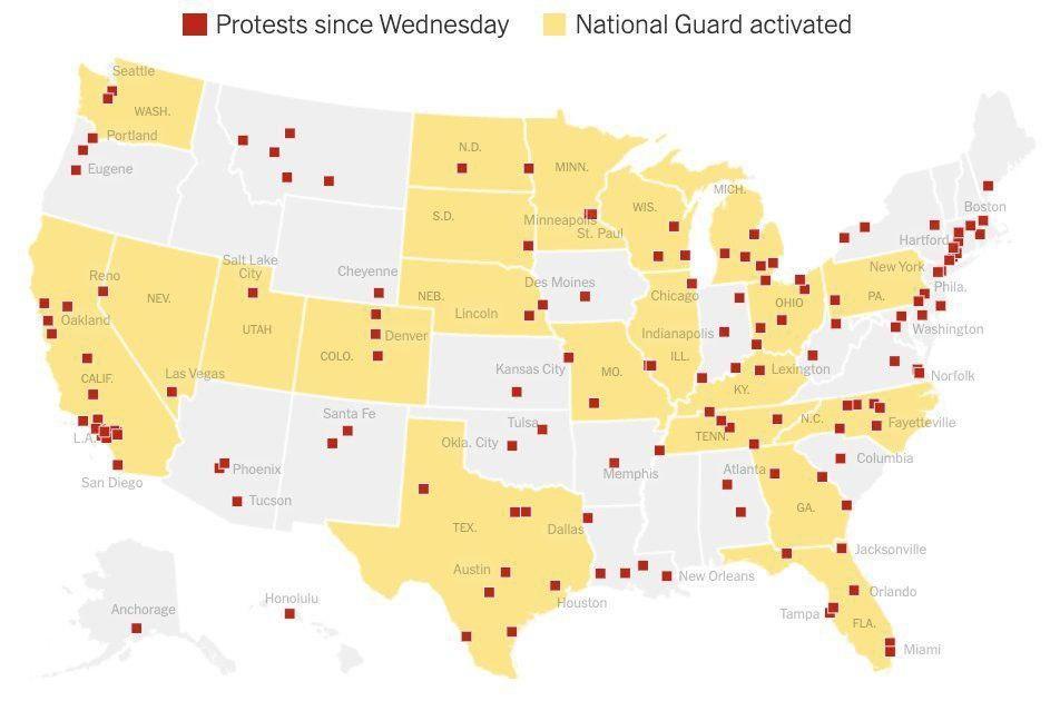 карта протестов США 2 июня 2020