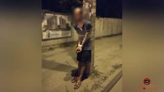 В Днепре привязали к столбу извращенца, который мастурбировал при детях