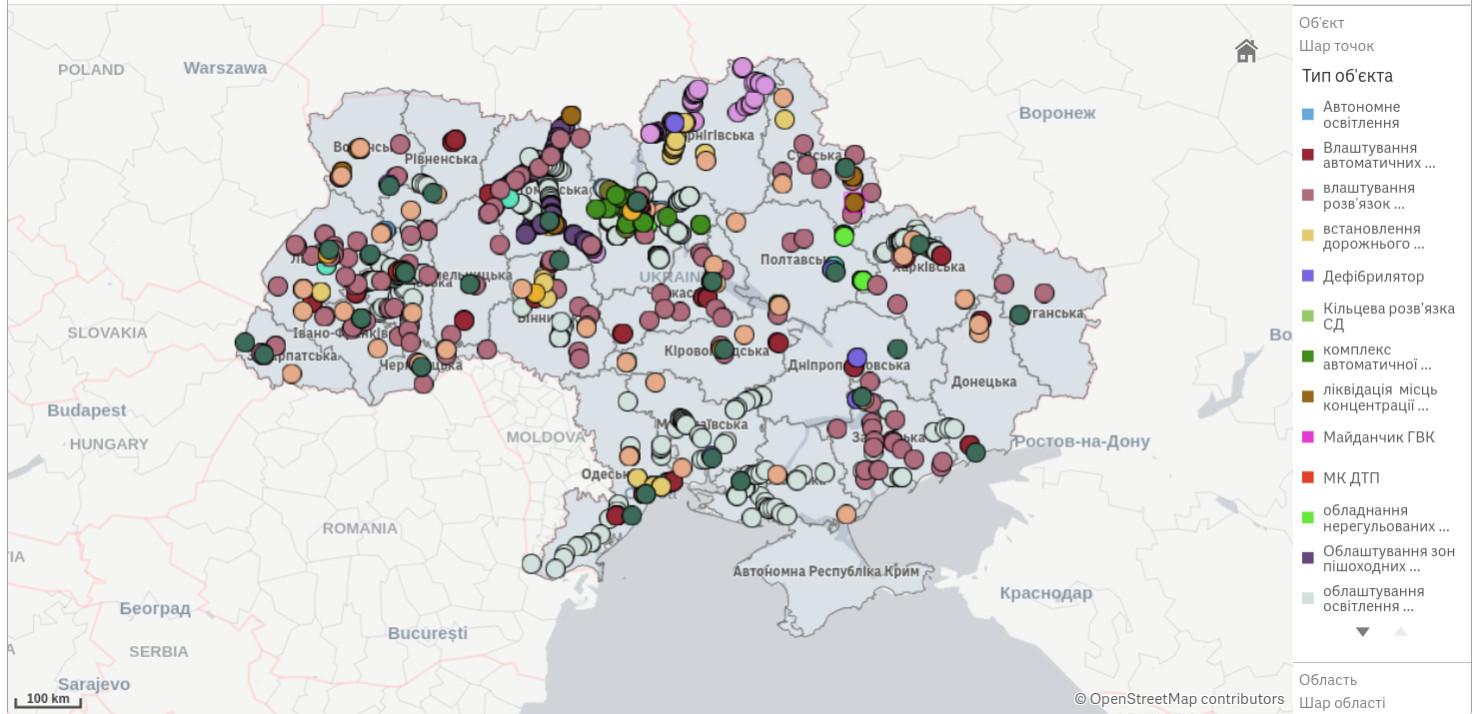 Интерактивная карта инфраструктурных проектов на дорогах Украины