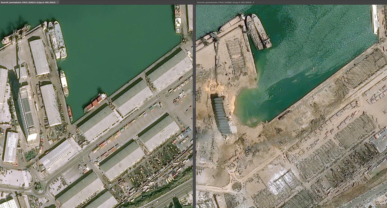 Порт Бейрута до и после взрыва