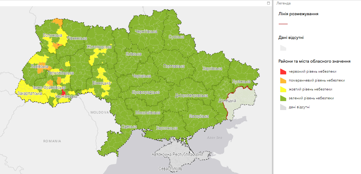 карантинные зоны в Украине