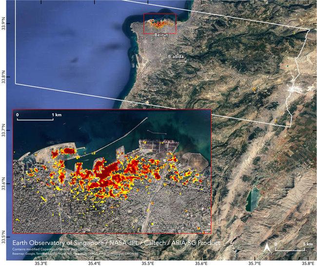 Спутниковая карта разрушений в порту Бейрута