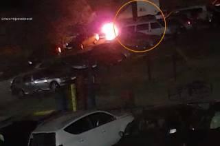 Момент поджога автомобиля антикоррупционных журналистов попал на видео камер наблюдения