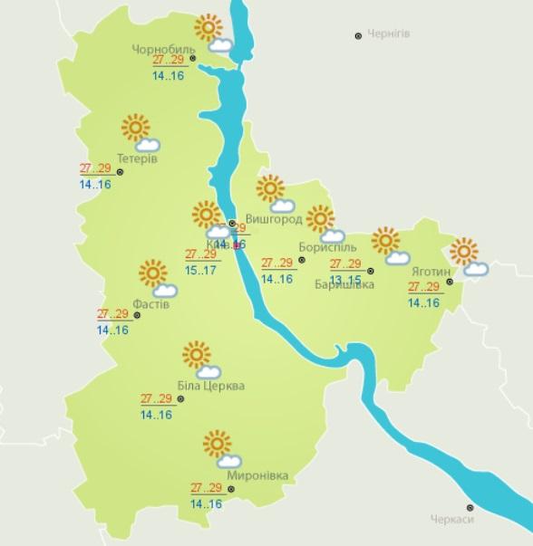 Погода в Киеве: карта