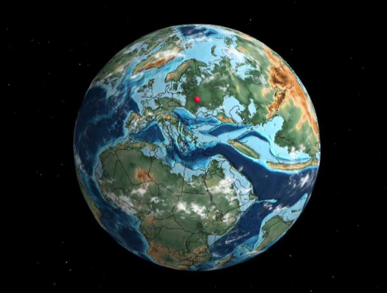 Место расположения современного Киева на Земле 66 млн лет назад
