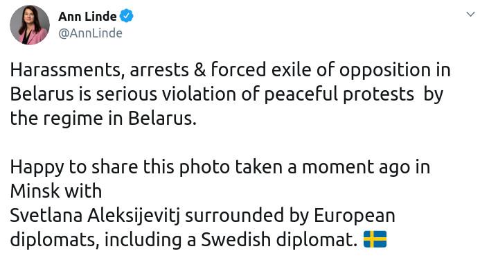Скриншот сообщения министра иностранных дел Швеции Анны Линде в Twitter