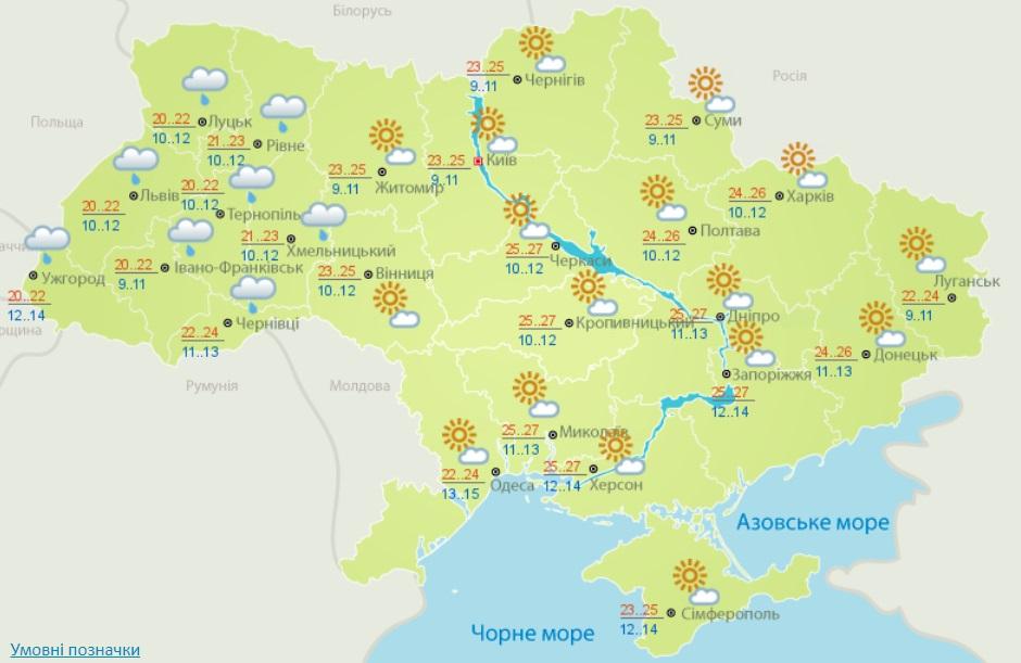Погода в Украине 26-27 сентября