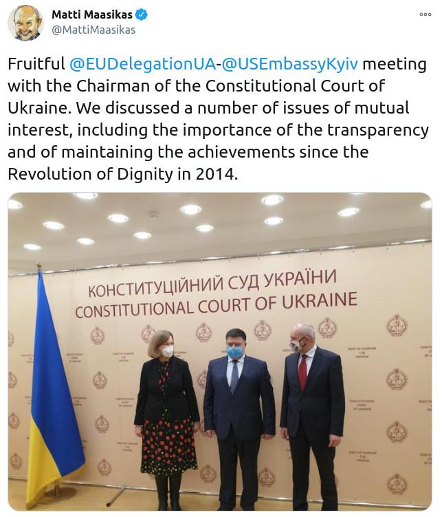 Скриншот сообщения Главы представительства ЕС в Украине Матти Маасикааса в Twitter