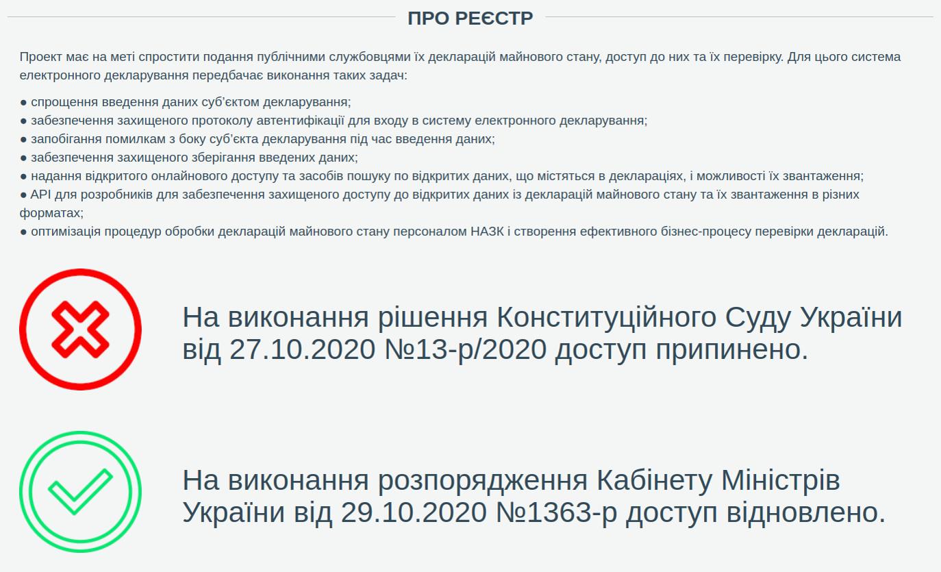 Скриншот страницы Единого государственного реестра электронных деклараций