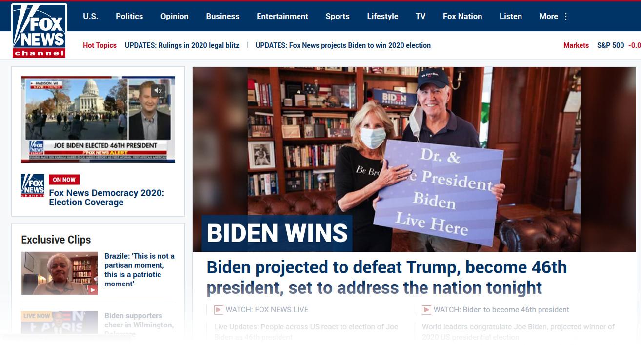 Главная страница Fox News с объявлением о победе Джо Байдена на выборах президента США