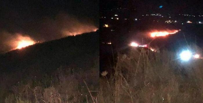 Пожар на плантации в северном Ливане, вызванный падением метеорита