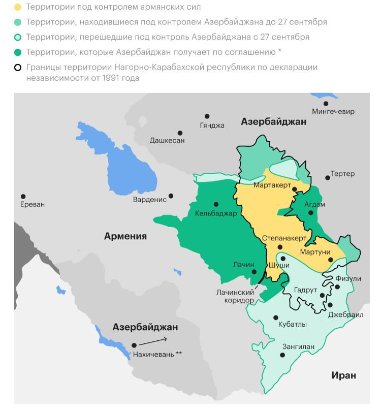 Карта Нагорного Карабаха в соответствии с договоренностями, достигнутыми 9 ноября 2020 года