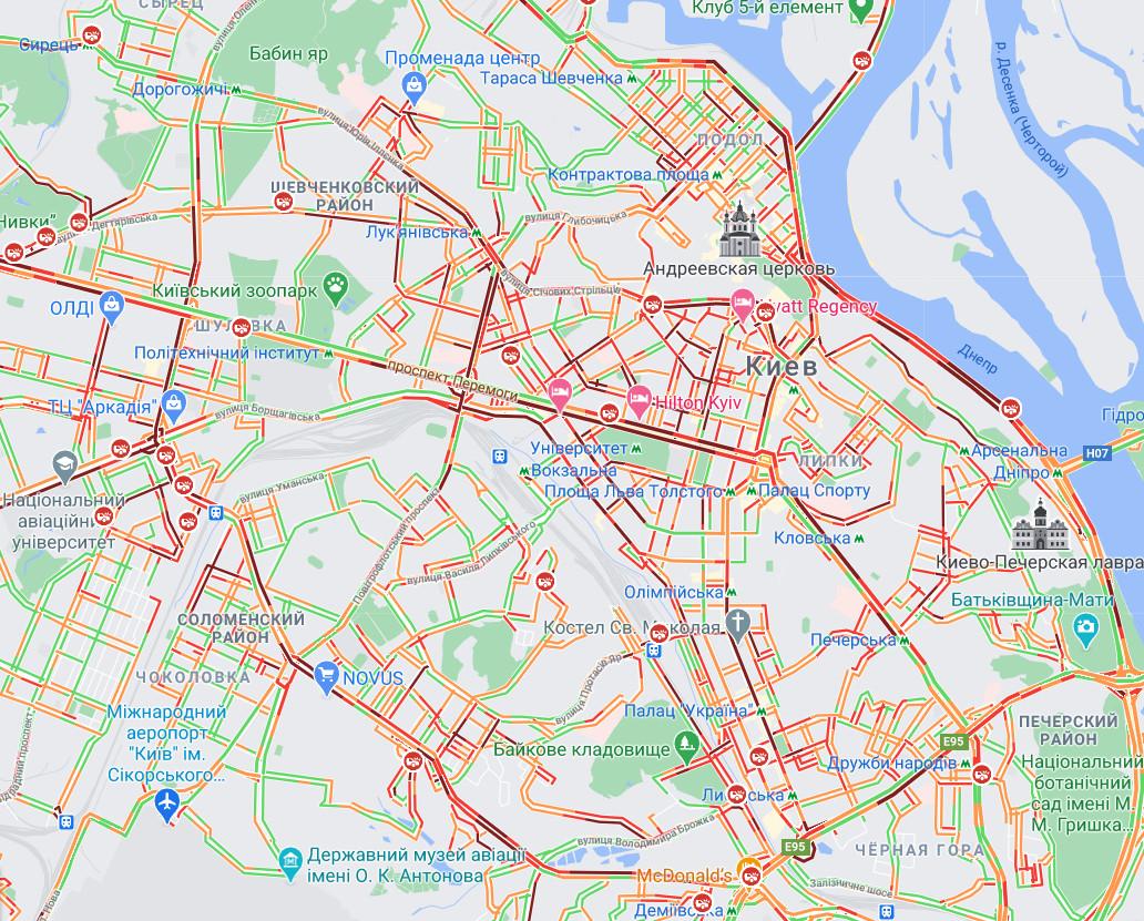 Карта пробок на правом берегу Киева 23 декабря 2020 года