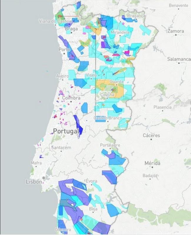 карта литиевых месторождений Португалии