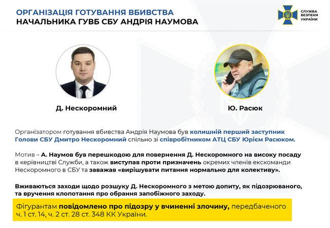 Организация подготовки убийства начальника ГУВБ СБУ Андрея Наумова
