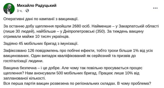 Скриншот сообщения Михаила Радуцкого в Facebook