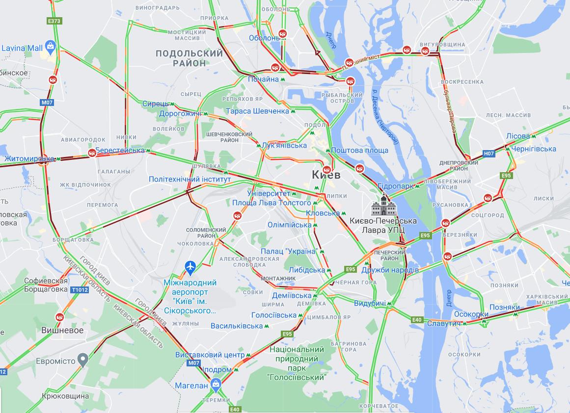 Карта пробок Киева по состоянию на 10 часов 30 минут 5 апреля