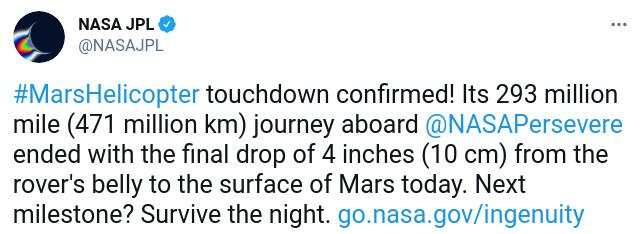 Скриншот сообщения NASA в Twitter