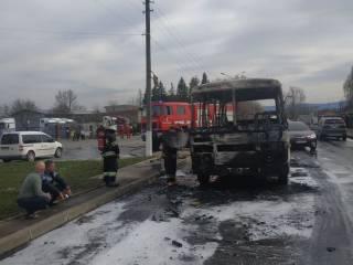 Во Львовской области прямо на ходу загорелся автобус