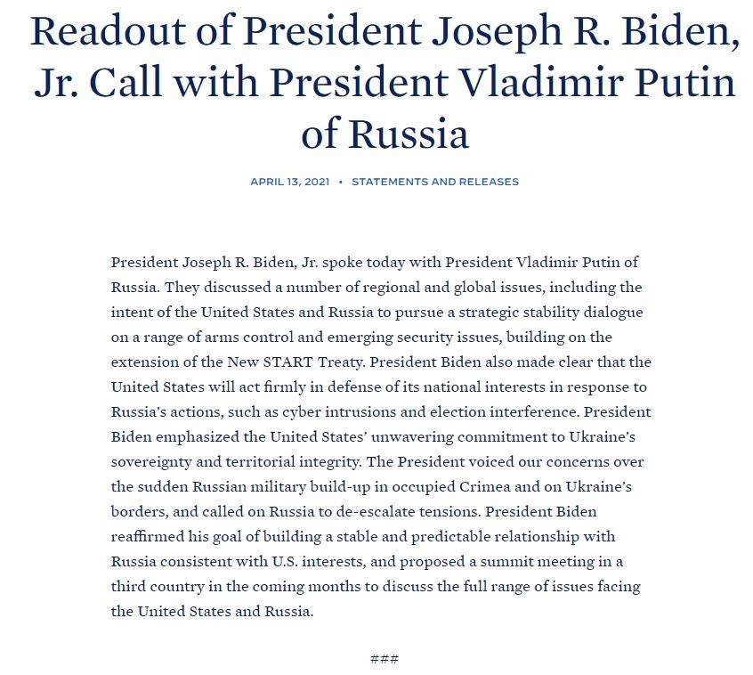 Джо Байден и Владимир Путин провели переговоры