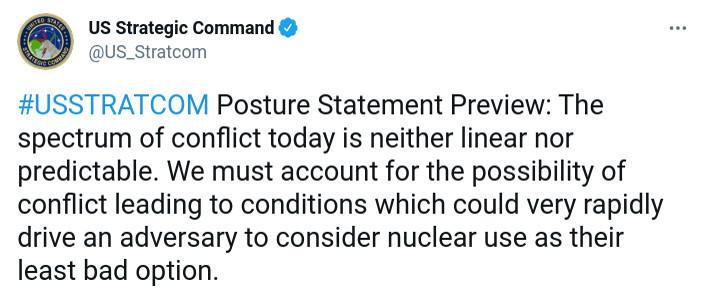 Скриншот сообщения американского стратегического командования в Twitter