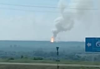 Опубликовано видео эпичного пожара на складе с порохом в России