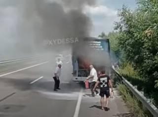 Появилось видео горящего автобуса под Одессой
