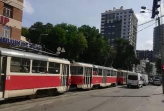 В Киеве произошел трамвайный коллапс