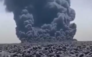 Появилось видео, как горит самая крупная свалка покрышек в мире