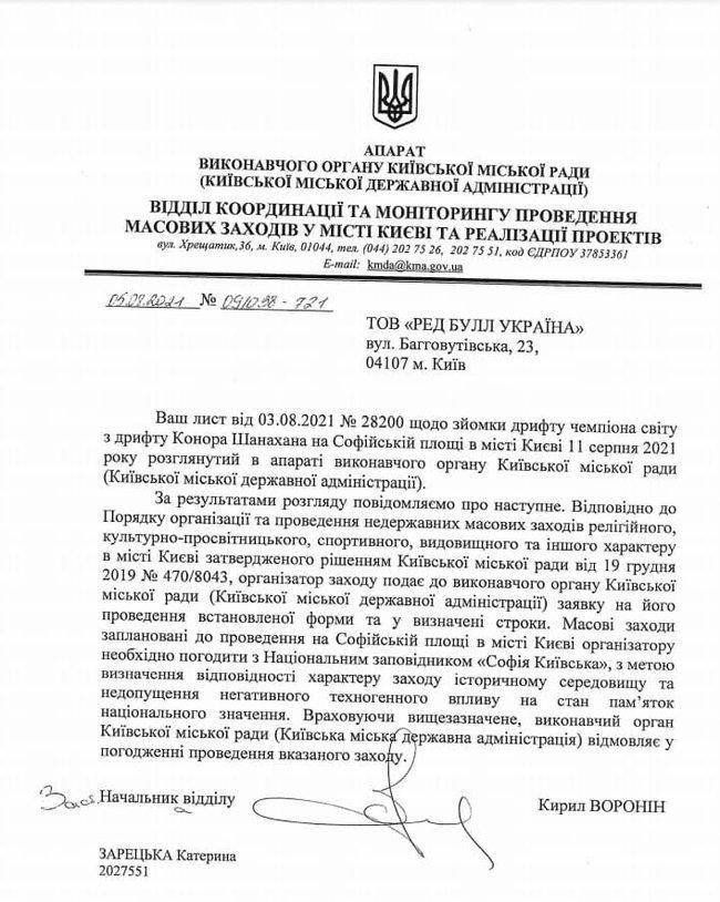 Письмо о запрете компании RedBull устраивать дрифт на Софийской площади в Киеве