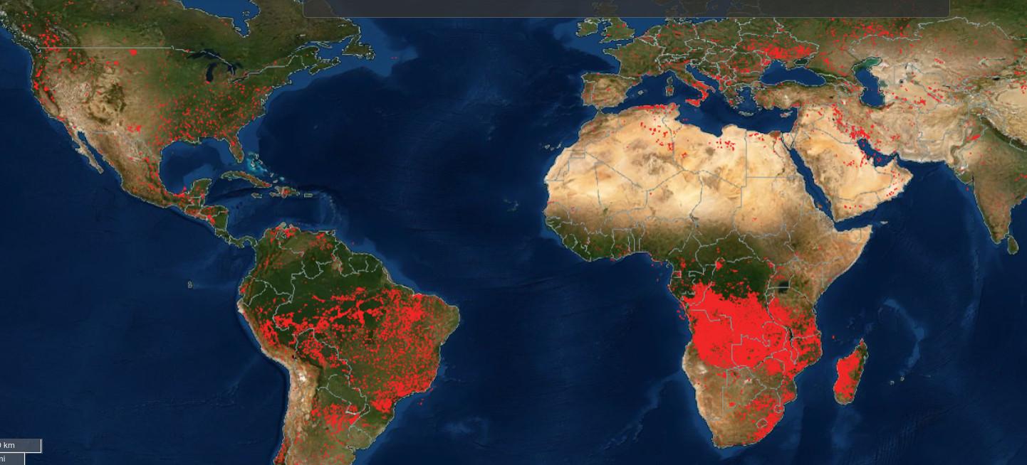Спутниковая карта пожаров от NASA