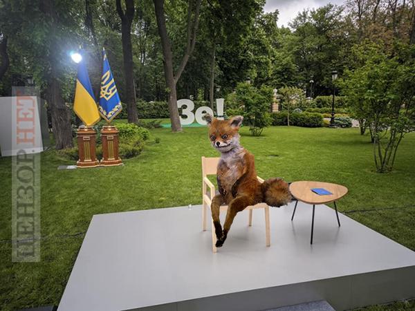 Фотожаба с упоротым лисом, посвященная пресс-конференции Владимира Зеленского